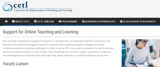 Support for Online Teaching and Learning