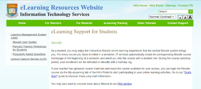 eLearning Support for Students