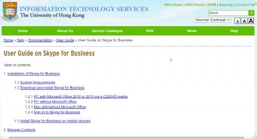 User Guide on Skype for Business