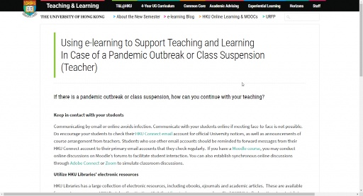 Using e-learning to Support Teaching and Learning  In Case of a Pandemic Outbreak or Class Suspension  (Teacher)