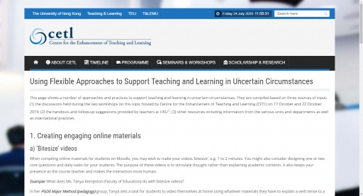 Using Flexible Approaches to Support Teaching and Learning in Uncertain Circumstances