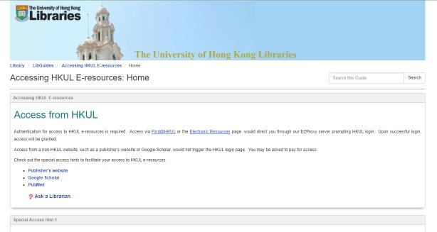 Accessing HKUL E-resources
