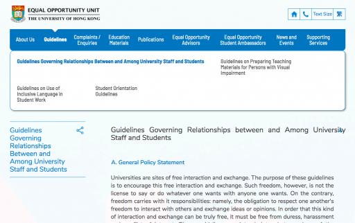 Guidelines Governing Relationships Between and Among University Staff and Students