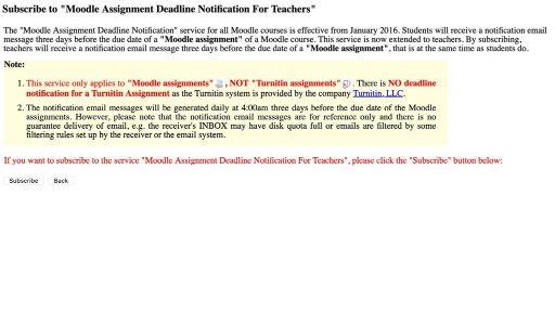 Moodle Assignment Deadline Notification For Teachers
