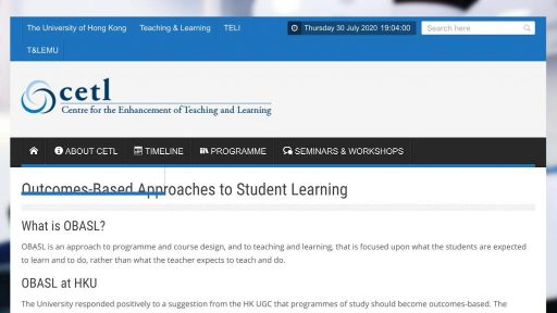 Outcomes-Based Approaches to Student Learning