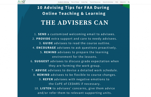 10 Advising Tips for FAA During Online Teaching & Learning