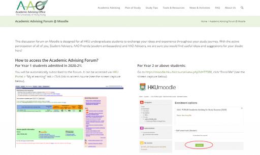 Academic Advising Discussion Forum @ Moodle
