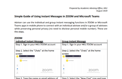 Simple Guide of Using Instant Messages in ZOOM and Microsoft Teams
